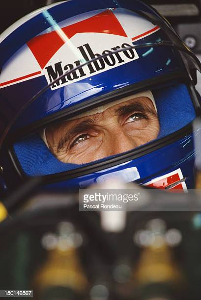 Alain Prost of France driver of the Scuderia Ferrari SpA Ferrari 643 Ferrari 35 V12 during pre season testing on 1st February 1991 at the Autodromo...