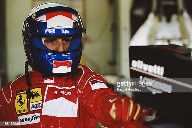 Alain Prost of France driver of the Scuderia Ferrari SpA Ferrari 643 Ferrari 35 V12 during practice for the British Grand Prix on 13th July 1991at...