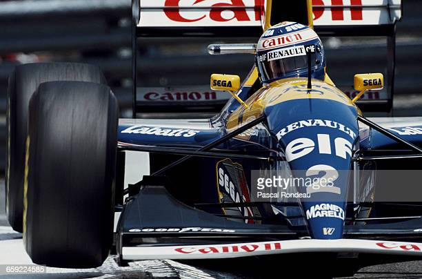 Alain Prost of France drives the Canon Williams Renault Williams FW15C Renault V10 during practice for the Grand Prix of Monaco on 22 May 1993 on the...