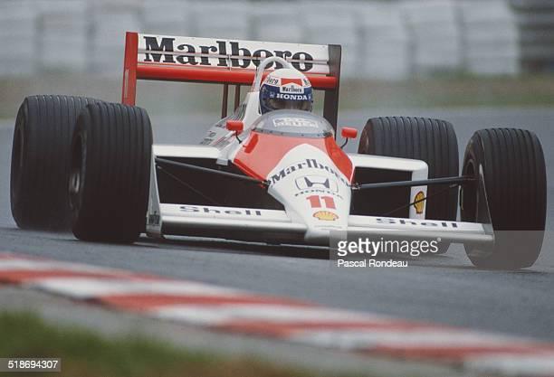 Alain Prost of France drives the Honda Marlboro McLaren McLaren MP4/4 Honda V6 during practice for the Belgian Grand Prix on 27th August 1988 at the...