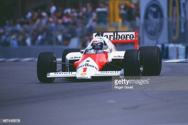 Alain Prost of France drives the Marlboro McLaren International McLaren MP4/2C TAG V8 turbo during the Australian Grand Prix at the Adelaide Street...