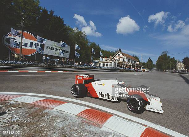 Alain Prost of France drives the Marlboro McLaren International McLaren TAG MP42C turbo during the Belgian Grand Prix on 25 May 1986 at the...