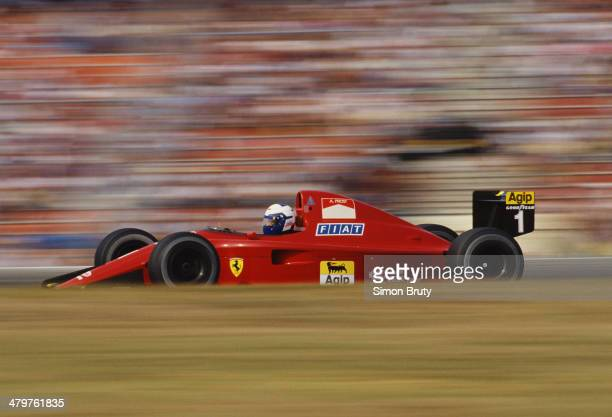 Alain Prost of France drives the Scuderia Ferrari Ferrari 641/2 Ferrari V12 on 29th July 1990 during the German Grand Prix at the Hockenheimring...