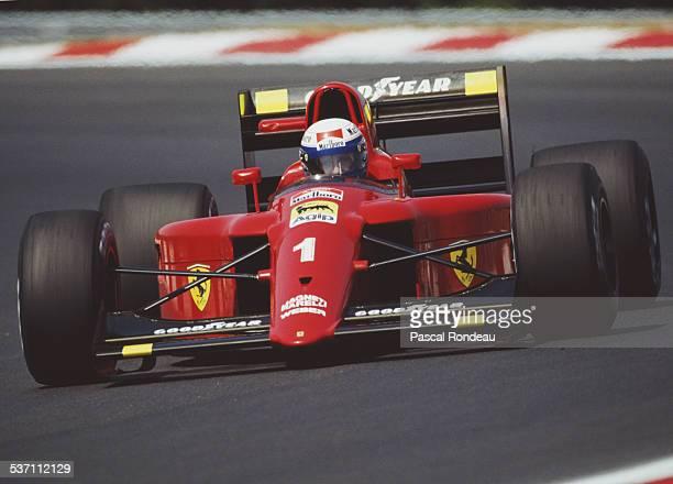 Alain Prost of France drives the Scuderia Ferrari SpA Ferrari 641/2 Ferrari V12 during the Grand Prix of Hungary on 12th August 1990 at the...
