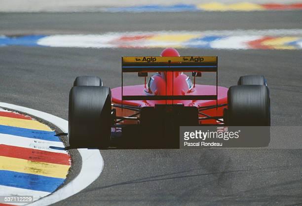 Alain Prost of France drives the Scuderia Ferrari SpA Ferrari 641/2 Ferrari V12 during the French Grand Prix on 8th July 1990 at the Circuit Paul...