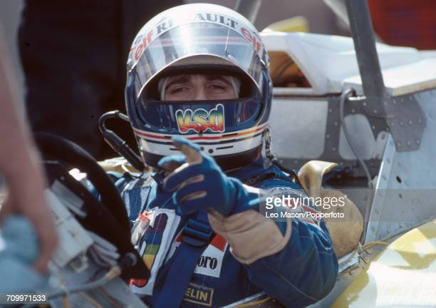 Alain Prost of France enroute to placing second driving a Renault RE30 with a Renault V6 engine for Team Equipe Renault Elf during the 1981 Caesars...