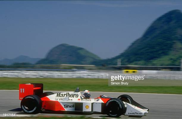 Alain Prost of France in action in his McLaren Honda during the Brazilian Grand Prix at the Rio circuit in Brazil. Prost finished in first place. \...