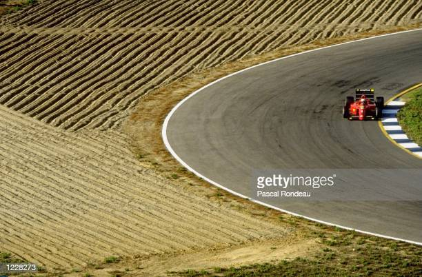 Alain Prost of France in action in his Scuderia Ferrari during the Spanish Grand Prix at the Jerez circuit in Spain Prost finished in first place...