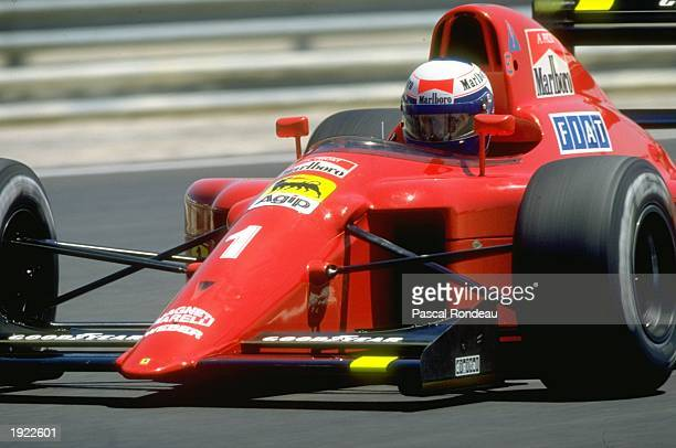 Alain Prost of France in action in his Scuderia Ferrari during the French Grand Prix at the Paul Ricard circuit in Le Beausset, France. Prost...