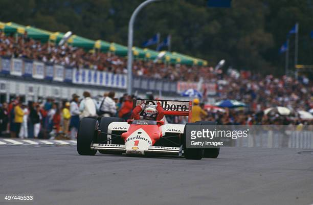 Alain Prost of France in the Marlboro McLaren International McLaren MP4/2C TAG V8 turbo during the Australian Grand Prix at the Adelaide Street...