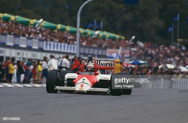 Alain Prost of France in the Marlboro McLaren International McLaren MP4/2C TAG V8 turbo during the Australian Grand Prix at the Adelaide Street...