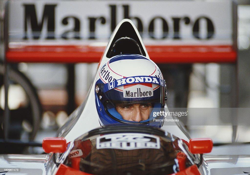 Alain Prost of France sits aboard the #2 Honda Marlboro McLaren McLaren MP4/5 Honda V10 during practice for the Brazilian Grand Prix on 25th March 1989 at the Autodromo Internacional Nelson Piquet Jacarepagua circuit near Rio de Janeiro, Brazil.