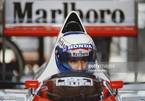 Alain Prost of France sits aboard the Honda Marlboro McLaren McLaren MP4/5 Honda V10 during practice for the Brazilian Grand Prix on 25th March 1989...