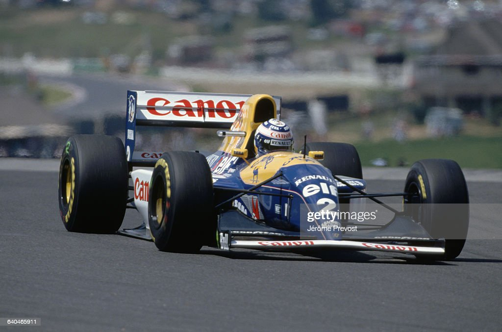 Alain Prost races for the Williams Renault team at the 1993 South African Grand Prix.