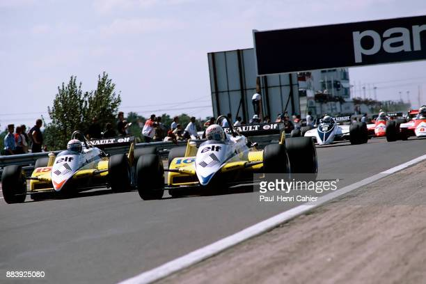 Alain Prost, Rene Arnoux, Renault RE30B, Grand Prix of Switzerland, Dijon-Prenois, 29 August 1982. Renault teammates Rene Arnoux and Alain Prost...