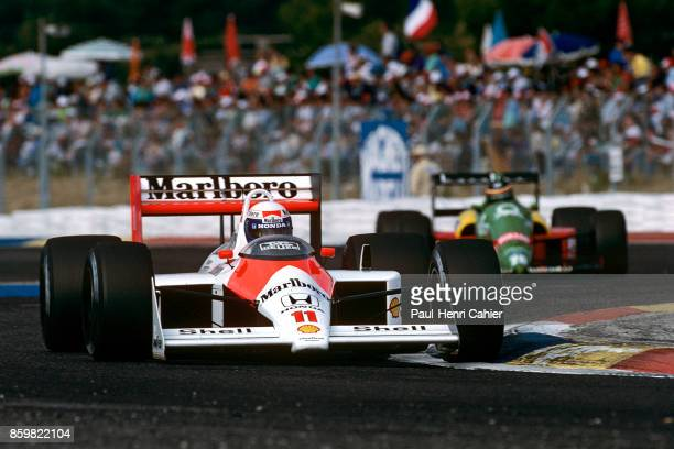 Alain Prost Thierry Boutsen McLarenHonda MP4/4 BenettonFord B188 Grand Prix of France Circuit Paul Ricard July 3 1988