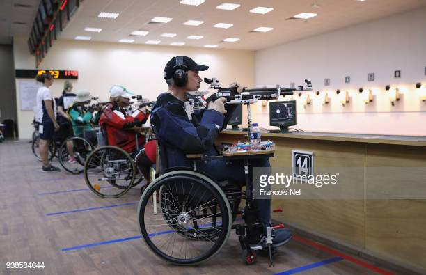 Alain Quittet of France competes in the R5 10m Air Rifle Prone Mixed SH2 during the 2018 World Shooting Para Sport World Cup at Al Ain Shooting Club...