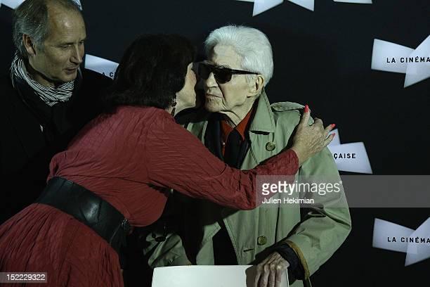 Alain Resnais , Anny Duperey and Hippolyte Girardot attend 'Vous N'Avez Encore Rien Vu' Photocall at la cinematheque on September 17, 2012 in Paris,...