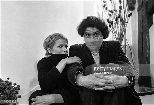 Alain Robbe-Grillet, Catherine Jourdan, Jean-Louis Trintignant in France on June, 1966-Catherine Jourdan, Alain Robbe-Grillet.