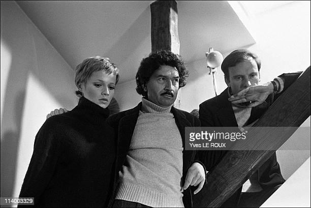 Alain Robbe-Grillet, Catherine Jourdan, Jean-Louis Trintignant in France on June, 1966-Catherine Jourdan, Alain Robbe-Grillet, Jean-Louis Trintignant.