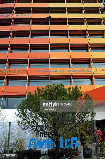 Alain Robert also known as the 'French SpiderMan' climbs the Hotel Puerta de America on February 19 2008 in Madrid Spain