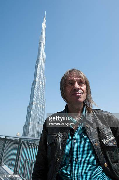 Alain Robert known as the French 'Spiderman' poses while making a climbing reconnaissance of the highest building in the world Burj Khalifa on March...