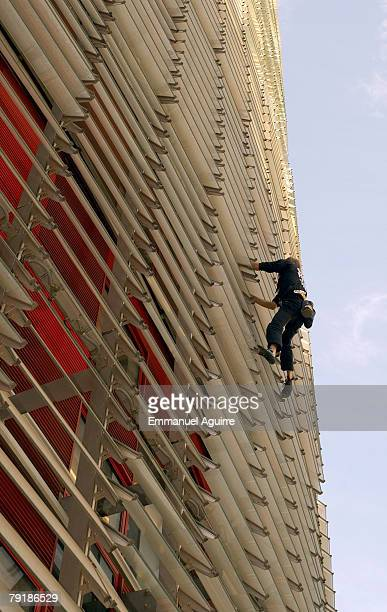 Alain Robert nicknamed the 'French Spiderman' climbs the Agbar Tower on August 3 2006 in Barcelona Spain Robert had to make his descent the same way...
