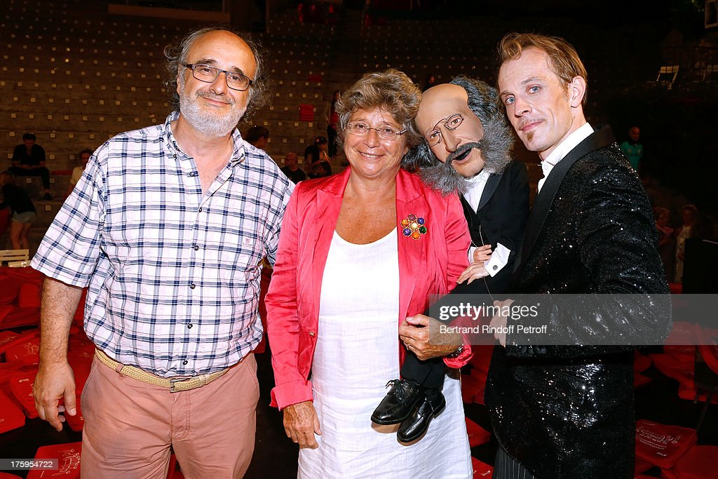 Alain Sachs, President of Ramatuelle Festival Jacqueline Franjou, puppet of Offenbach and an actor of the show after 'Tout Offenbach ou presque !' show at 29th Ramatuelle Festival : Day 11 on August 10, 2013 in Ramatuelle, France.