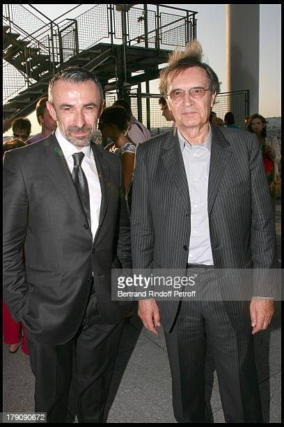 Alain Seban and Bertrand De Labbey at Private Viewing Of The Exhibition elles@centrepompidou Featuring Works Of More Than 200 Female Artists Of The...