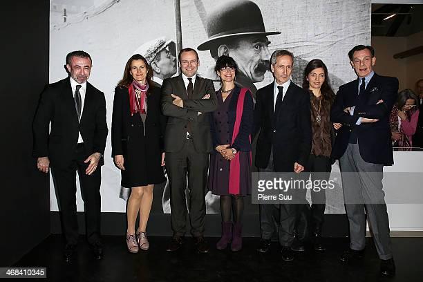 Alain Seban Aurelie Filippetti Clement Cheroux Bernard Blistene Amelie Cartier Bresson attend the Henri CartierBresson Opening Night At Centre...