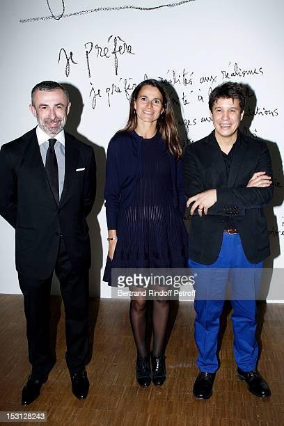 Alain Seban Pompidou Centre President Aurelie Filippetti Minister of Culture and Communication and Adel Abdessemed attend Adel Abdessemed exhibition...