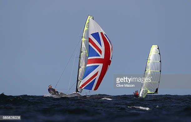 Alain Sign and Dylan Fletcher-Scott in action on their 49er class skiff during practice ahead of the Rio 2016 Olympic Games at the Marina da Gloria...