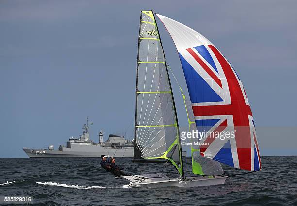 Alain Sign and Dylan Fletcher-Scott of Great Britain in action on their 49er class skiff during practice ahead of the Rio 2016 Olympic Games at the...