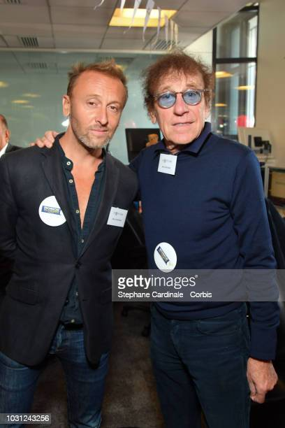 Alain Souchon and his son Pierre Souchon attend the Aurel BGC Charity Benefit Day 2018 on September 11 2018 in Paris France