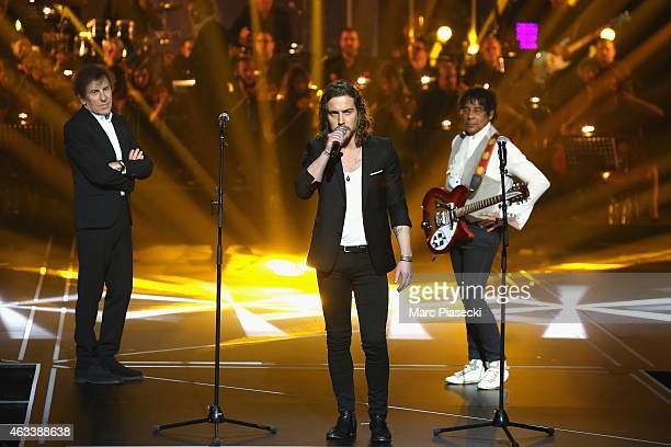 Alain Souchon Julien Dore and Laurent Voulzy perform during the 30th 'Victoires de la Musique' French Music Awards Ceremony at le Zenith on February...