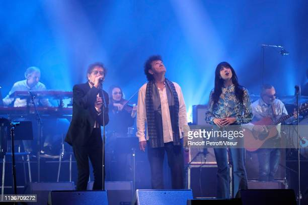Alain Souchon Robert Charlebois and Nolwenn Leroy perform during the Charity Gala against Alzheimer's Disease At L'Olympia on March 18 2019 in Paris...