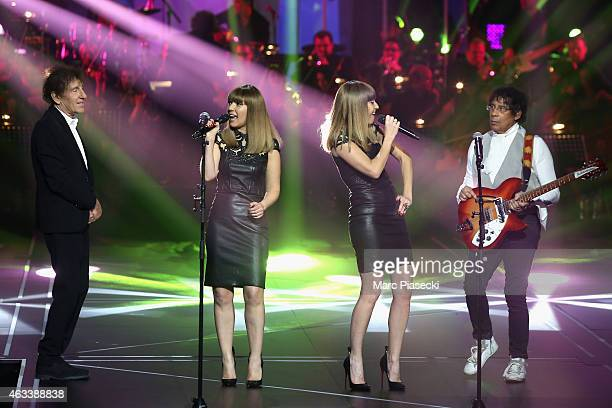 Alain Souchon Sylvie Hoarau and Aurelie Saada from Brigitte and Laurent Voulzy perform during the 30th 'Victoires de la Musique' French Music Awards...