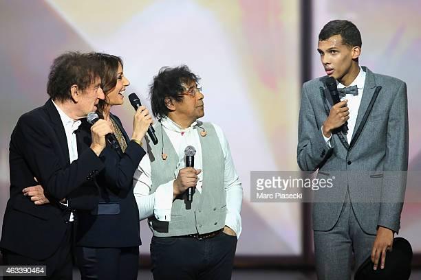 Alain Souchon Virginie Guilhaume Laurent Voulzy and Paul Van Haver aka Stromae attend the 30th 'Victoires de la Musique' French Music Awards Ceremony...