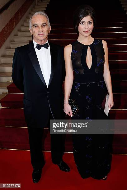 Alain terzian and Actress Leslie Medina attends the Cesar Film Award 2016 at Theatre du Chatelet on February 26 2016 in Paris France
