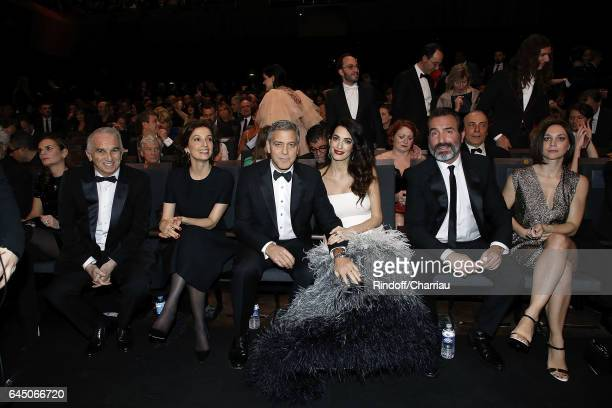 Alain Terzian Audrey Azoulay George Clooney Amal Clooney Jean Dujardin and Nathalie Pechalat attend Cesar Film Award 2017 at Salle Pleyel on February...