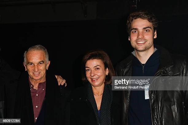 Alain Terzian Carole Amiel and Valentin Livi attend in Backstage the Laurent Gerra Show at Palais des Sports on December 27 2014 in Paris France