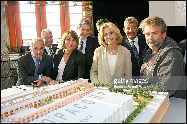Alain Terzian Christine Albanel Christian Blanc Valerie Pecresse and Luc Besson at Press Conference For The Launch Of La Cite Du Cinema At St Denis