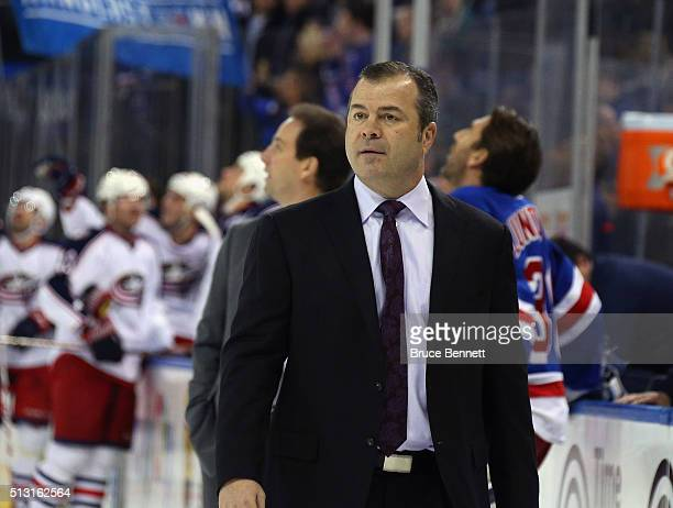 Alain Vigneault of the New York Rangers leaves the ice following a game against the Columbus Blue Jackets at Madison Square Garden on February 29...
