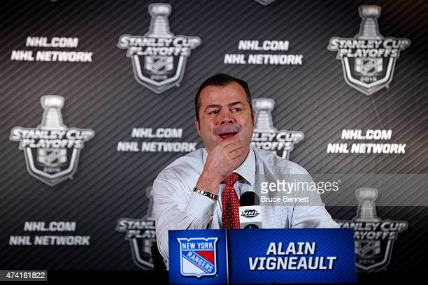 Alain Vigneault of the New York Rangers speaks to the media after being defeated by the Tampa Bay Lightning 5 to 6 in overtime of Game Three of the...