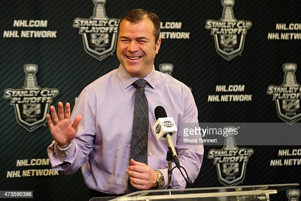 Alain Vigneault of the New York Rangers speaks to the media before Game One of the Eastern Conference Finals against the Tampa Bay Lightning during...
