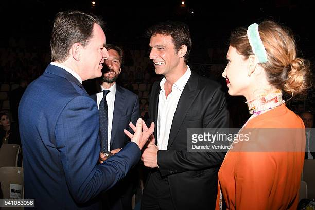 Alain Zimmermann Alessandro Preziosi and Greta Carandini attend Baume Mercier Closing Night 62 Taormina Film Fest on June 18 2016 in Taormina Italy
