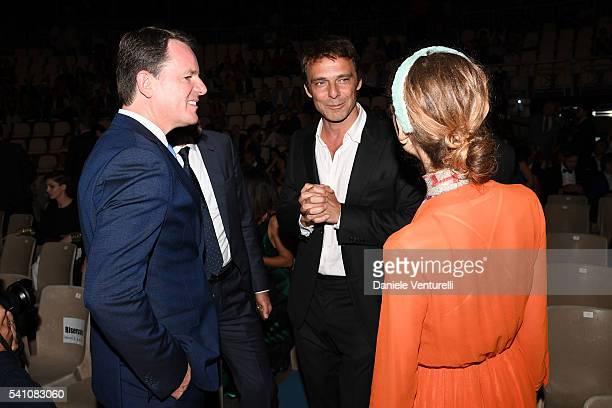 Alain Zimmermann Alessandro Preziosi and Greta Carandini attend Baume Mercier Closing Night 62 Taormina Film Fest on June 18 2016 in Taormina Italy