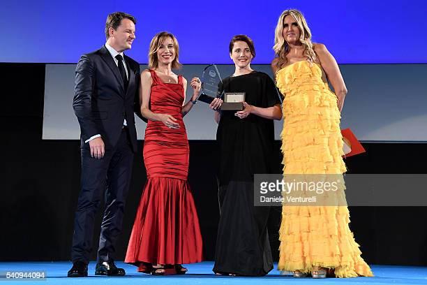Alain Zimmermann Silvia Grilli Eleonora Giovanardi and Tiziana Rocca attend Baume Mercier 62 Taormina Film Fest on June 17 2016 in Taormina Italy