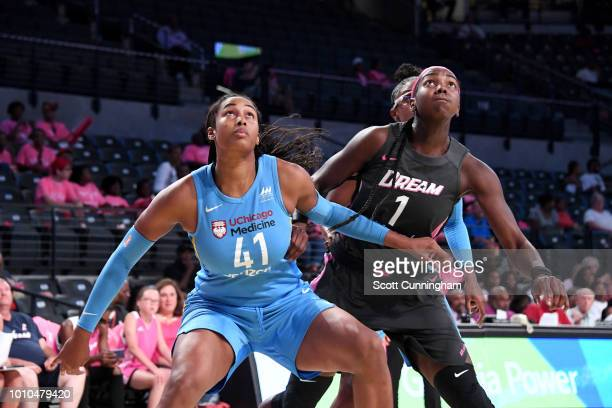 Alaina Coates of the Chicago Sky and Elizabeth Williams of the Atlanta Dream battle for position during the game on August 3 2018 at the McCamish...