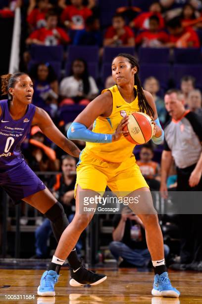 Alaina Coates of the Chicago Sky handles the ball against the Phoenix Mercury on July 25 2018 at Talking Stick Resort Arena in Phoenix Arizona NOTE...